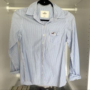 Holilster casual blue striped shirt -S
